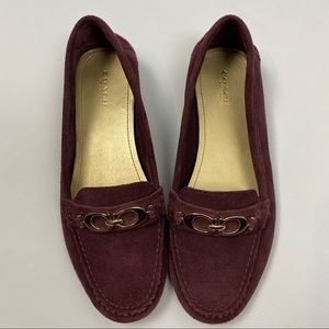 Coach Fortunata Suede burgundy Loafers size 8